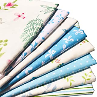 flic-flac 20 x 20 inches (51cmx51cm) Fat Quarter Natural Cotton Quilting Fabric Thick Craft Printed Fabric High Density Bundle Squares Patchwork Lint DIY Sewing (8pcs, Blue)