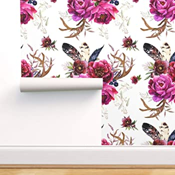 Peel-and-Stick Removable Wallpaper Feathers Purple Watercolor Painted The