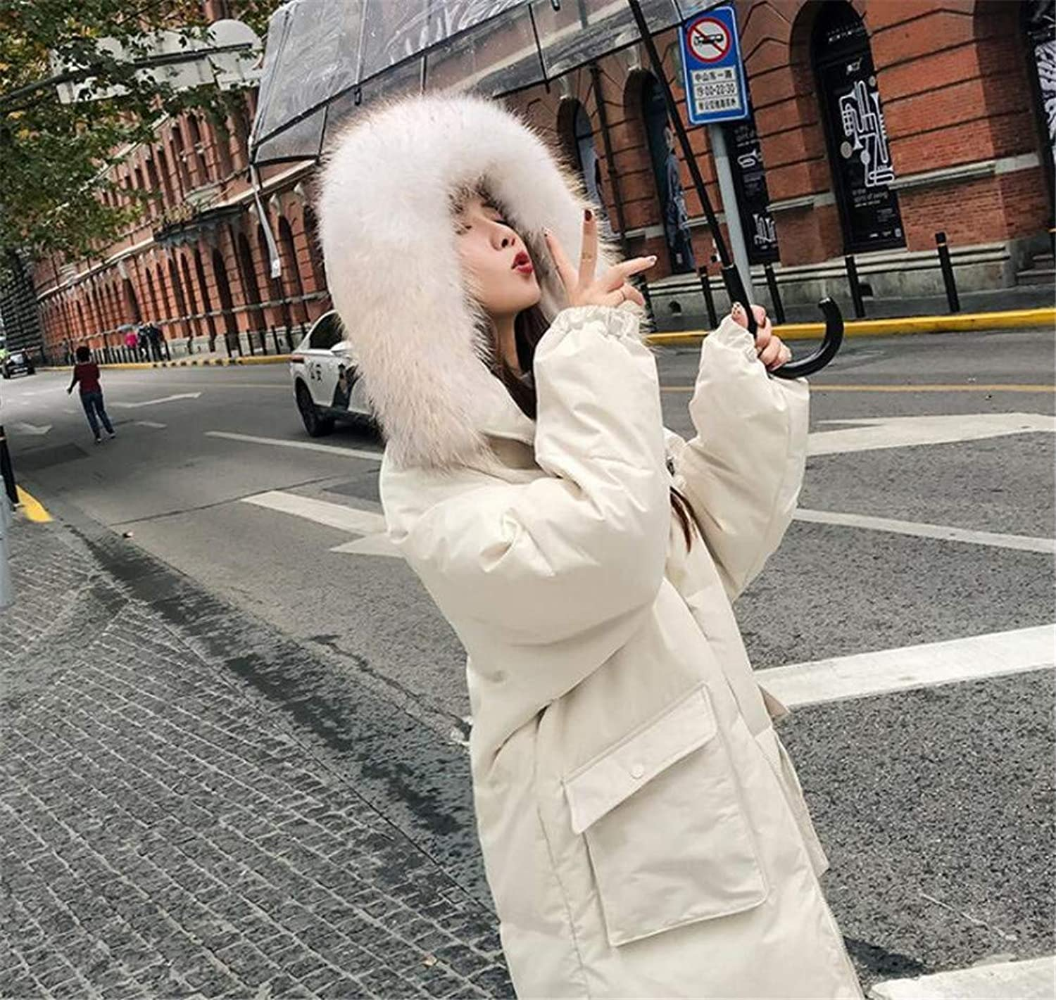 Women Down Coat Down, Europe and America Medium and Long Section Slim Fit Thicken White Duck Down Padding Hooded Down Jacket