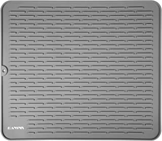 Silicone Kitchen Countertop Drying Mat, MANSNIX Anti-skid Heat-proof Dish Drying Mat,Silicone Draining Mat Dimension: 17.8inches x 15.8inches(XL,Grey)