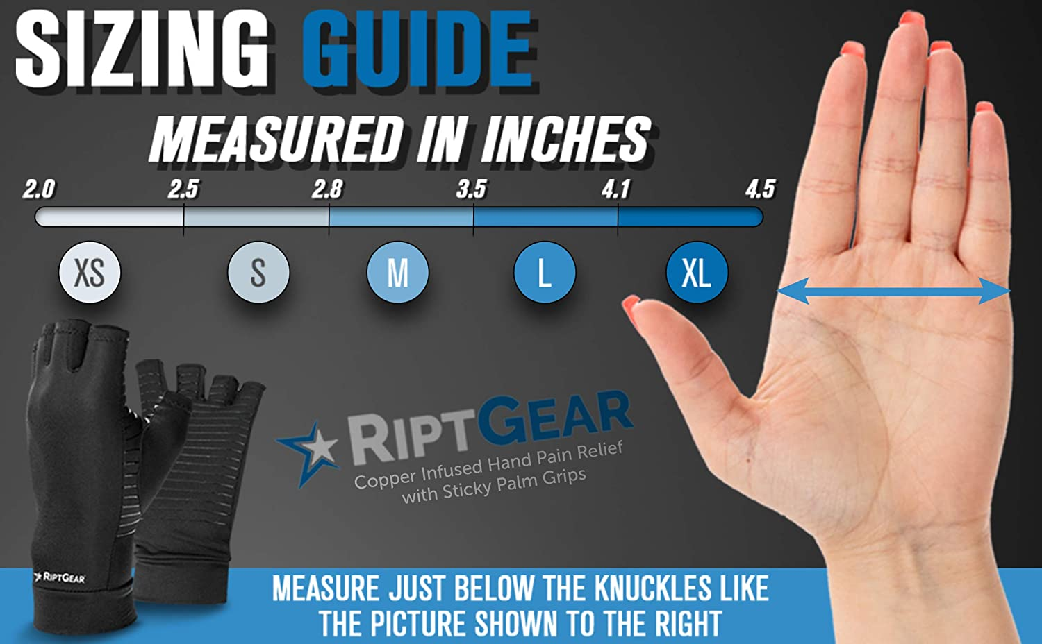 RiptGear Compression Gloves for Women and Men (Pair) – Fingerless Copper Arthritis Gloves for Arthritis Pain Relief Support - Typing Gloves - (Medium): Health & Personal Care