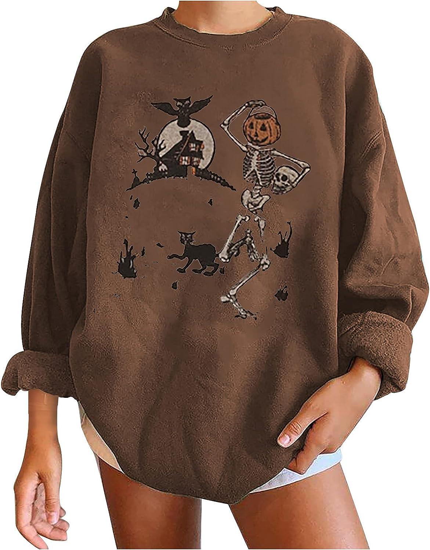 Women Halloween Skeleton Print Oversized Y2K Sweatshirt Hoodies E Girl Harajuku Aesthetic Pullover Streetwear Top