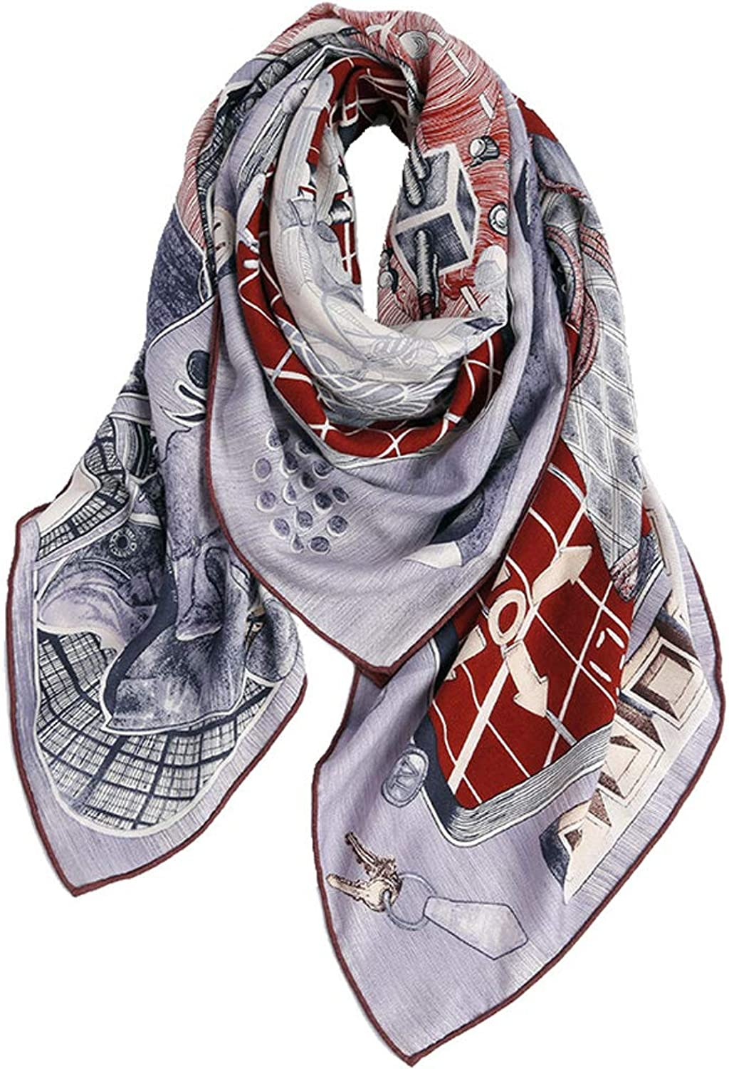 JUN Winter Large Square Scarf Shawl Female Winter Wool Print Wild