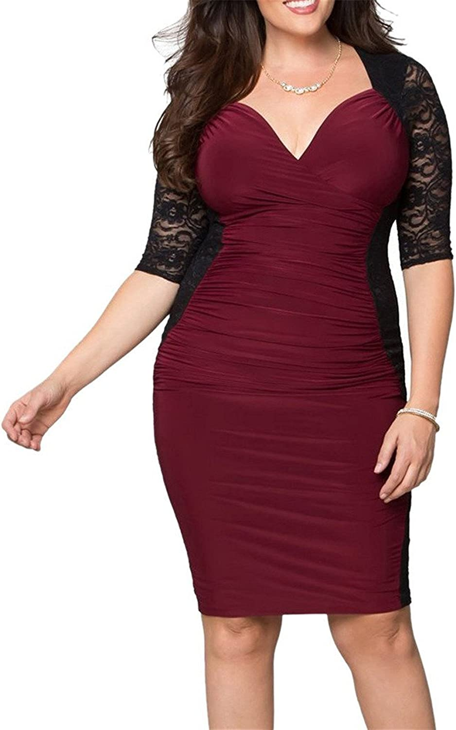 Tobyak Women's V Neck Plus Size Knee Length Bodycon Dress popular.