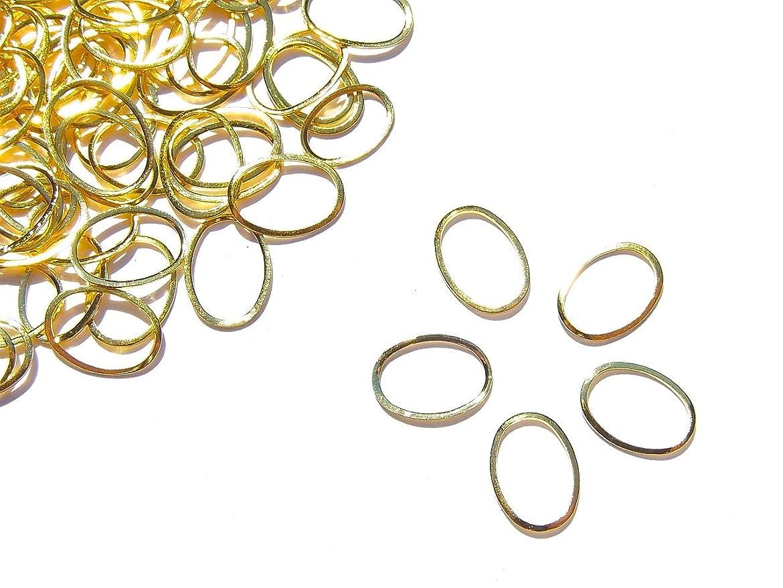 法王誓いちらつき【jewel】メタルフレームパーツ オーバル型 8.5mm×6mm 10枚入り ゴールド 金 (カーブ付きフラットタイプ)素材 材料 レジン ネイルアート パーツ 手芸