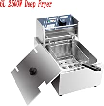 Deep Fryer Stainless Steel Double Cylinder Electric Fryer w/Fry Basket for Commercial Restaurant, Countertop, Kitchen w/Adjustable Temperature [US STOCK] (Single Tank)