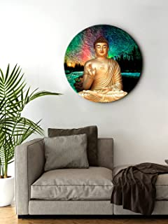 999STORE Blessing Buddha Round Shape Wall Art Painting Frame (Golden, Small 11X11 Inch, RPainting047)