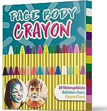 UNEEDE Carnaval Crayones de Pintura de la Cara 28 Colores Cintas de Pintura de Cara para Fiestas de Pascua Niños, Fiesta Infantil, Seguridad no tóxica Fit for Easter Parties