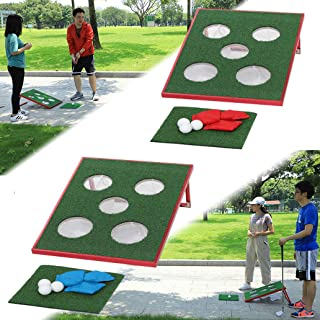 SPRAWL Golf Apprentice Chipping Cornhole Boards Set Beanbags Tossing Game Sports Five Holes on Office Backyard Park Parties