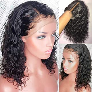 Curly Lace Front Human Hair Wigs With Baby Hair Pre Plucked Short Bob Wigs For Black Women Brazilian Remy Bleached Knots Glueless 13x6 150% Density (13x6 lace front wig 150% density, 14inches)