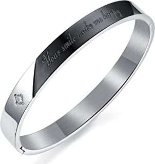 809e4af9c81 Tinera Trends Your Smile Makes Me Happy Stainless Steel Bangle Kada For  Unisex
