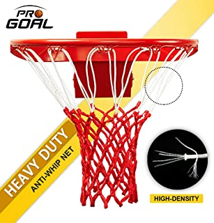 PROGOAL Professional Basketball Net Replacement,Heavy Duty Thick Net Fits Standard Indoor and Outdoor 12-Loop Rims (Red&White, Standard Size)
