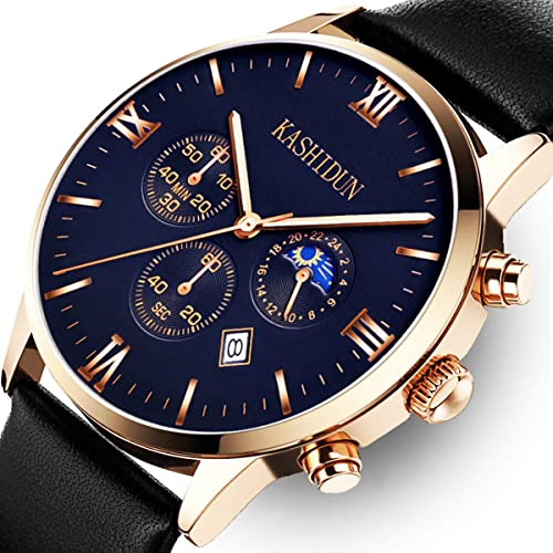 KASHIDUN Mens Watches Luxury Sports Casual Quartz Wristwatches Waterproof Chronograph Calendar Date Stainless Steel Band Black