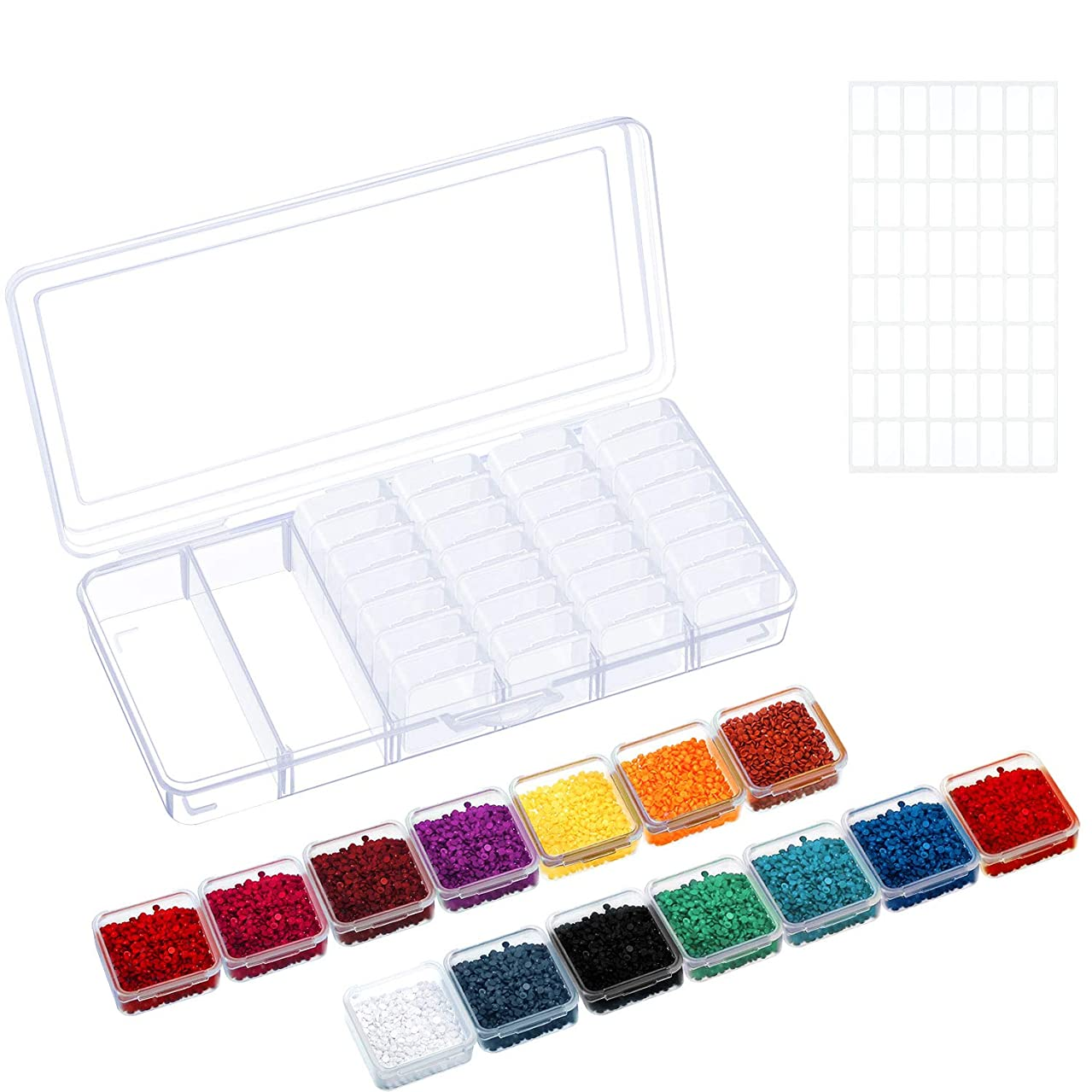 Diamond Painting Storage Box 42 Grids Clear Embroidery Accessory Container 5D Diamond Painting Boxes with 64 Pieces Labels for Handmade Supplies