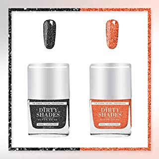 Dirty Shades Nail Polish Combo of 2 (Sparkling Black Complexion, Sparkling Orange Candy)