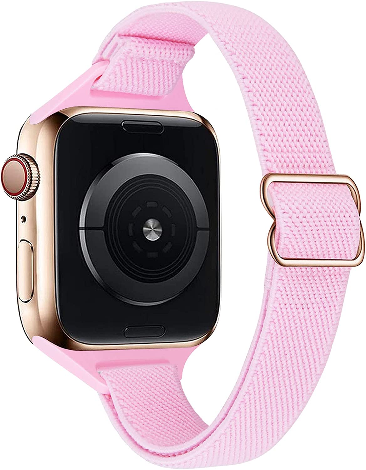 VISOOM Stretchy Slim Solo Loop Bands Compatible with Apple Watch 38mm 40mm 42mm 44mm band-Thin Women Elastics Nylon Replacement Wristband for iWatch Strap Series 6/SE/5/4/3/2/1 Accessories
