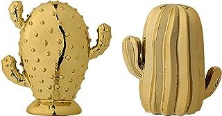 Bloomingville Ceramic Cactus Figurines with Shiny Gold Glaze, Set of 2