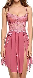 Avidlove Women Lingerie Gown Forky Nightwear Mesh Babydoll Dress Lace Chemises Nightie
