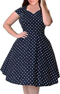 Women's 1950s Style Cap Sleeve Polka Dot Summer Vintage Plus Size Swing Rockabilly Dresss