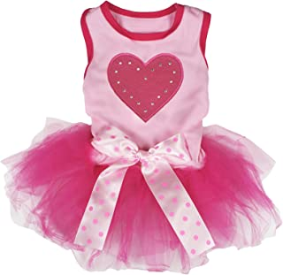 Petitebella Hot Pink Heart Cotton Shirt Tutu Puppy Dog Dress