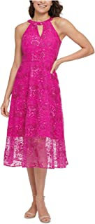 KENSIE Womens Pink Zippered Floral Sleeveless Keyhole Below The Knee Fit + Flare Evening Dress Juniors AU Size:12