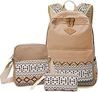 Abshoo Canvas Dot Backpack Cute Lightweight Teen Girls Backpacks School Shoulder Bags (Khaki)