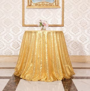 SquarePie Sequin Tablecloth Round Gold 50 Inch Sparkly Table Linen for Wedding Birthday Party Cake Dessert Table Christmas Decorations