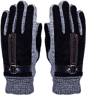 fa3c0426b7257 Gants Hommes en Cuir Automne Hiver Mitaines en Laine Super Chaud Moufles  Tricoté Crochet Epais Thermique