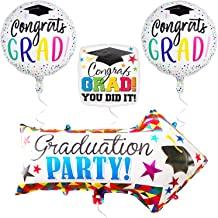 Graduation Balloons and Yard Sign - Arrow Yard Sign for Graduation Decorations and Graduation Party Supplies - Mylar Foil Helium Balloon - High School and Senior - Congrats Grad and You Did it