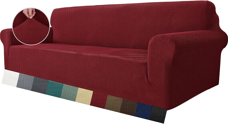 MAXIJIN Funda de sofá súper elástica para sofá de 4 plazas, extra grande, universal, fundas de sofá Jacquard Spandex para mascotas, protector de muebles de perro (4 plazas, rojo vino)