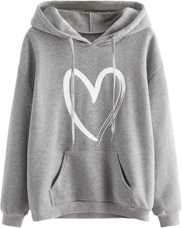 SweatyRocks Women's Casual Heart Print Long Sleeve Pullover Hoodie Sweatshirt Tops