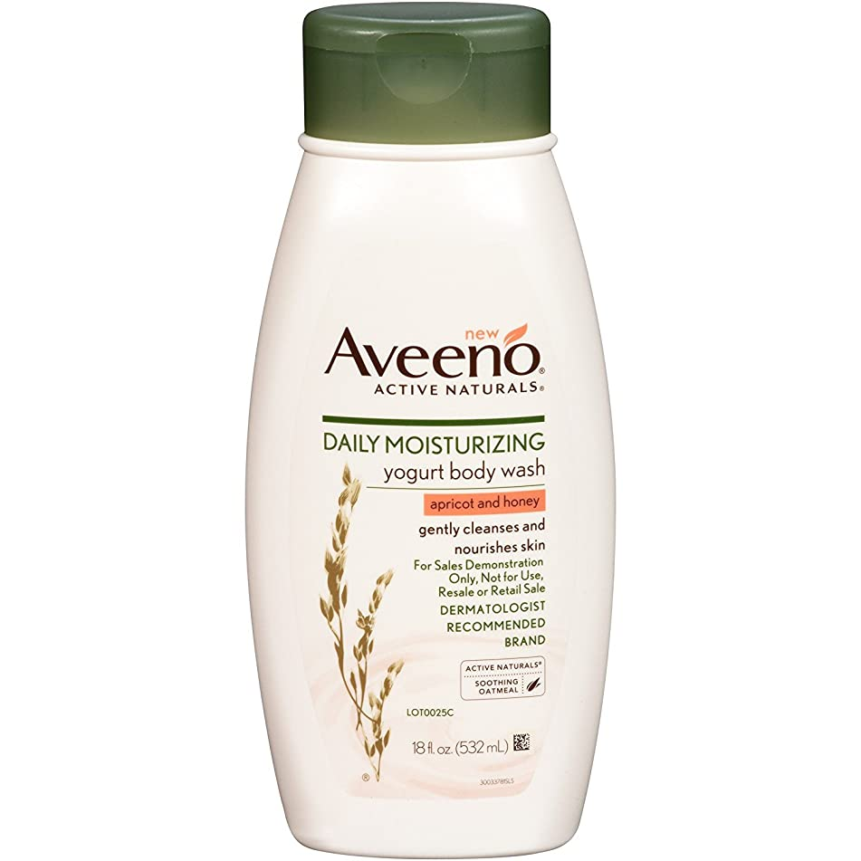 Aveeno Body Wash Yogurt Apricot & Honey 18 Ounce (532ml) (2 Pack)
