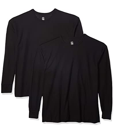 Fruit Of The Loom Classic Midweight Waffle Thermal Underwear Crew Top (1 2 Packs) (Black/Black