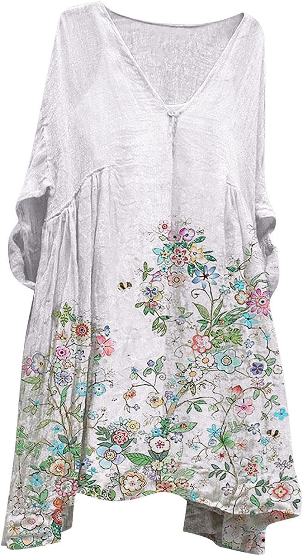 iQKA Women Casual Loose Short Dress Long Sleeve V Neck Floral Print Graphic Shirt Dresses Flowy Tunic Blouse Vestidos