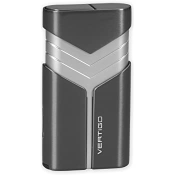 "Cigar Punch Double Torch Flame Vertigo /""Valet/"" Black Butane Cigar Lighter"