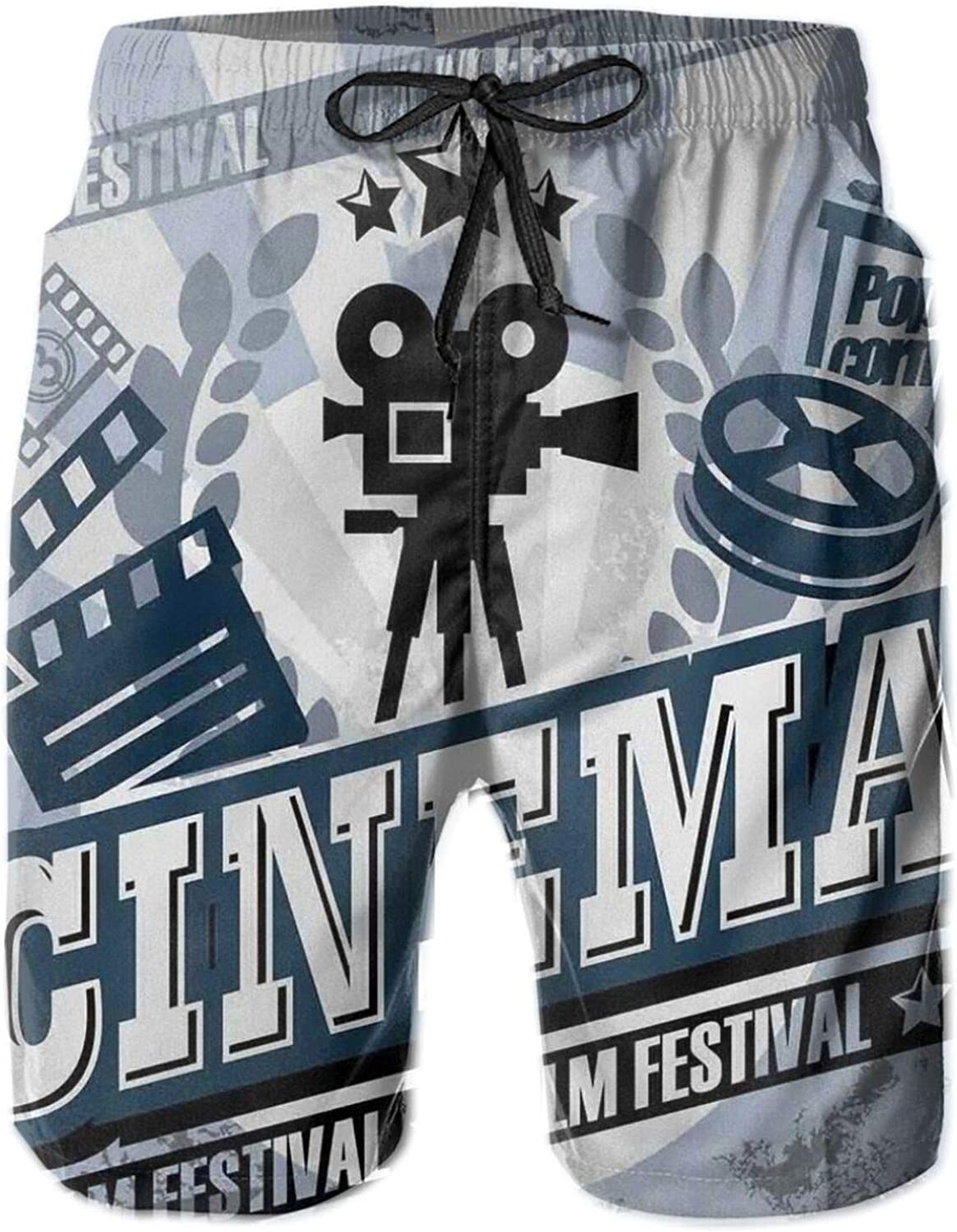 Vintage Cinema Poster Design with Grunge Effect and Old Fashioned Icons Drawstring Waist Beach Shorts for Men Swim Trucks Board Shorts with Mesh Lining,L