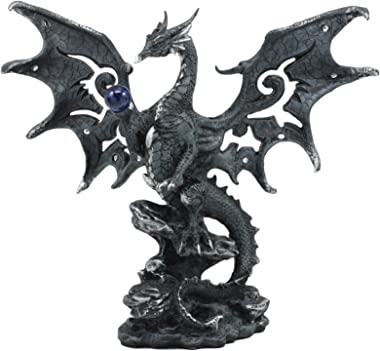"""Ebros Draco Fantasy Gothic Dragon with Blue Orb Statue 8"""" Tall Land of The Dragons Home Decor Dragon Beast Sculpture"""