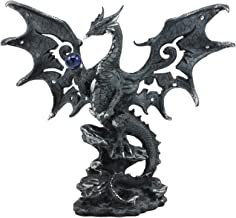 Ebros Draco Fantasy Gothic Dragon with Blue Orb Statue 8