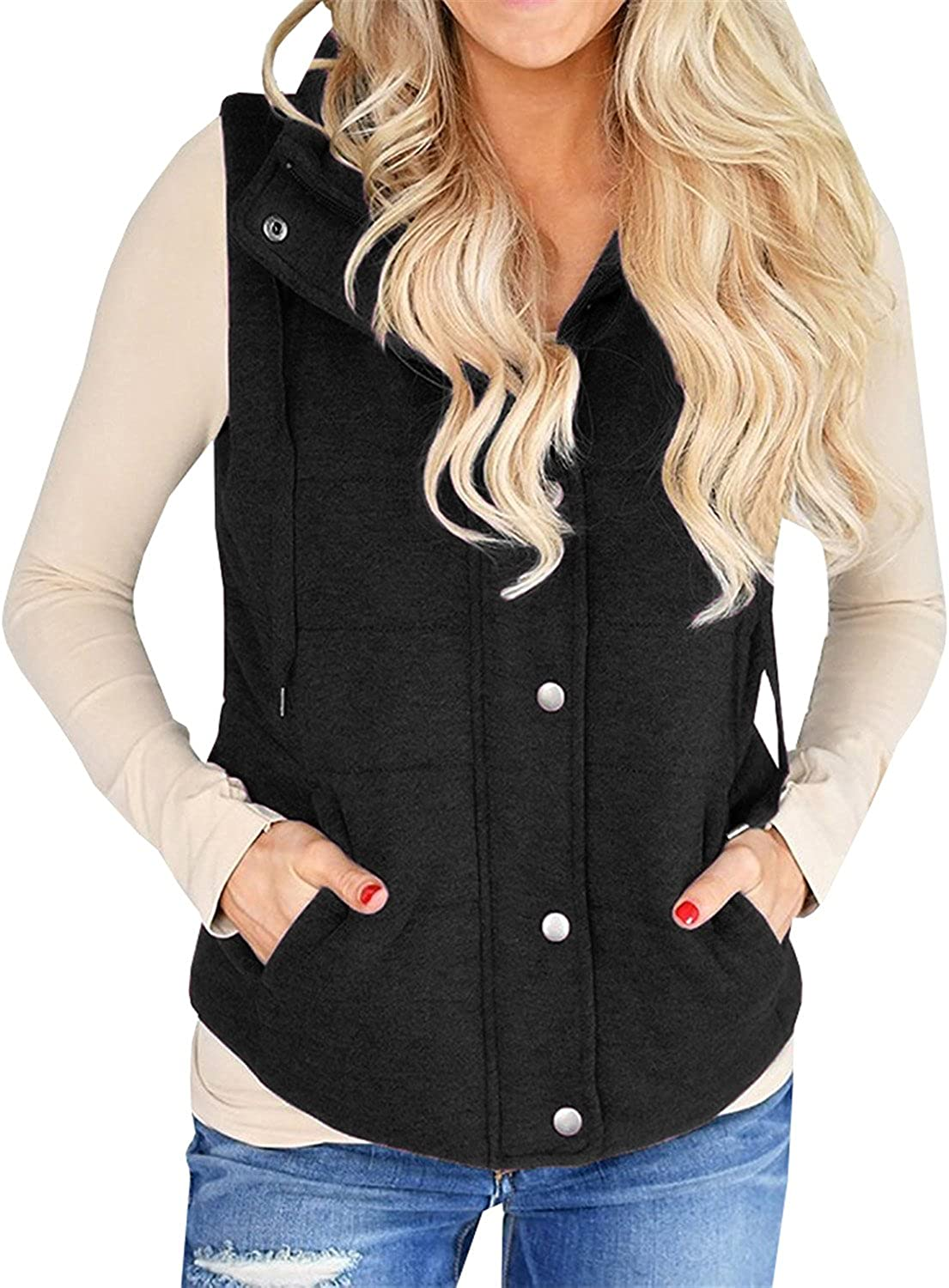 Chellysun Women Snap Stand Quilted Vest Coat Padded Puffer Outerwear Jacket with Zipper