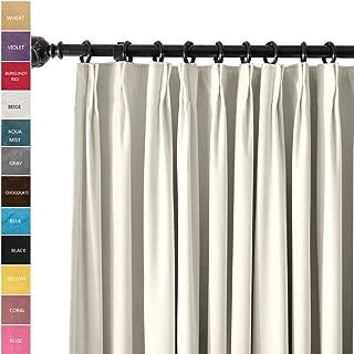 ChadMade Pinch Pleat 42W x 96L Room Darkening Velvet Curtain Drapery Panel for Traverse Rod or Track, Living Room Bedroom Meetingroom Club Theater Patio Door (1 Panel), White