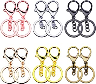 Sunmns Classical Metal Lobster Clasp Lanyard Snap Hook with Key Chain Keychain Rings, Colorful, 12 Pieces
