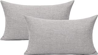 """All Smiles Light Gray Lumbar Pillow Covers 12 """"x 20"""" مجموعة من 2 Solid Farm House فناء رمي سادة أغطية للأريكة السرير القطن..."""