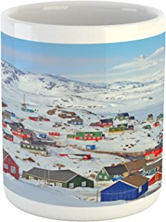 Ambesonne European Mug, Snowy Greenland North Scandinavian Peaceful Frozen Winter Nordic Idyllic Image, Ceramic Coffee Mug Cup for Water Tea Drinks, 11 oz, Ice Blue