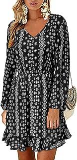 Style Dome Vestido de manga larga para mujer, estilo túnica con cuello en V, estilo bohemio, con lunares, vestido corto y ...