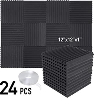 "Focusound 24 Packs Acoustic Foam Panels Wedge Soundproof Studio Wall Tiles Sound Absorbing with Double Side Adhesive Tape, 1"" X 12"" X 12"""