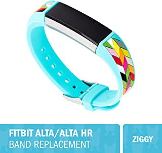"WITHit French Bull Designer Silicone Fitbit Alta/Alta HR Band – Secure, Adjustable, Fitbit Watch Band Replacement, Fits Most Wrists (5.5""–7.25"") Sweat-Resistant Accessories (Ziggy)"