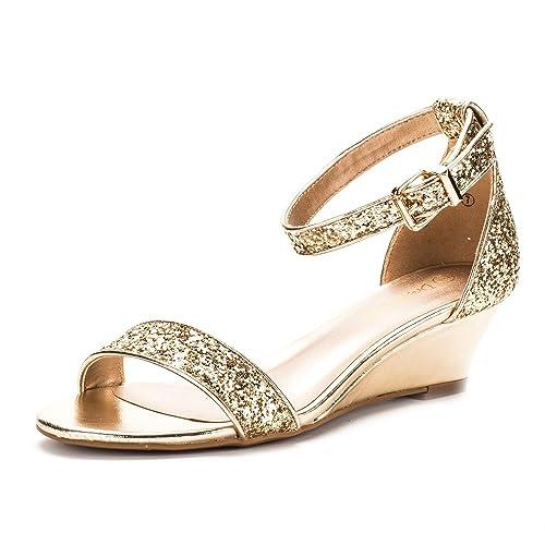 2312da1529b DREAM PAIRS Women s Ingrid Ankle Strap Low Wedge Sandal