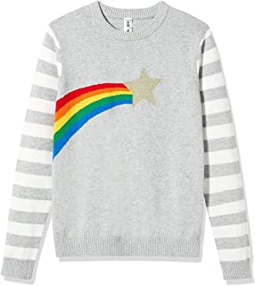 Kid Nation Kids' Sweater Long Sleeve Pullover Crew Neck with Star Rainbow for Girls and Boys Cotton Knit Sweater