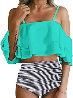 7053fb90e7d32 Tempt Me Women Two Piece Off Shoulder Ruffled Flounce Crop Bikini Top with  Print Cut Out