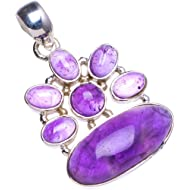 """Natural Amethyst Handmade Unique 925 Sterling Silver Pendant 1.5"""" X0198"""